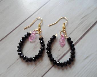 Leaf and crystal earrings