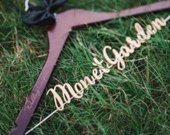 Personalized Wedding Hanger Gold Letters, Bridal Hanger, Bridesmaid Dress Hanger, Wedding Shower Gift Bridal Dress Hanger photo prop vet0004