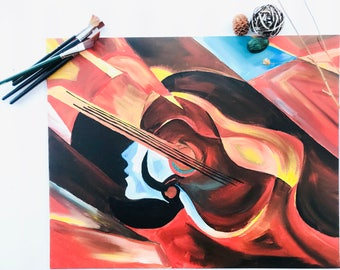 """Abstract Guitar Oil """"16x20"""" Canvas BoardDeco 