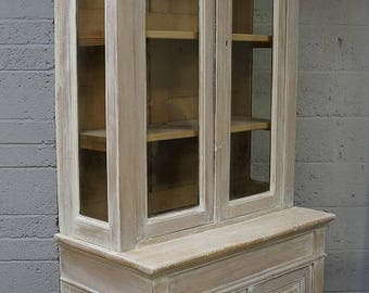 Vintage French Painted Pine Cupboard Bookcase