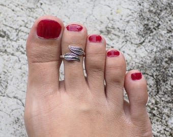 Two Leaf Toe Ring, Double Leaf toe ring, 925 Sterling Silver, Adjustable toe ring, Midi Ring, Boho Toe Ring - MI.21/TR075