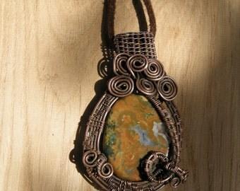 Rhyolite pendant, Wire wrapped pendant, Unique pendant, Natural stone pendant, Handmade jewelry, Copper wire pendant, Wire wrapped jewelry
