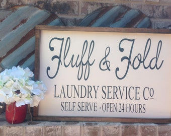 Laundry room sign, fluff and fold sign, farmhouse style sign, farmhouse  decor, laundry service co, wood sign