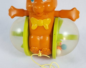Vintage Fisher Price Bear Pull Toy 1978 Made in USA No. 642 Quaker Oats Company