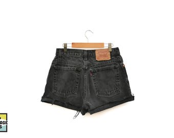 Custom Made Vintage Black Levi's High Waisted Shorts