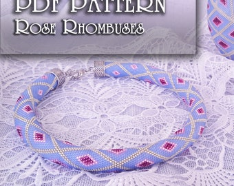 PDF Pattern for beaded crochet necklace - Jewelry patterns - Blue and Pink necklace