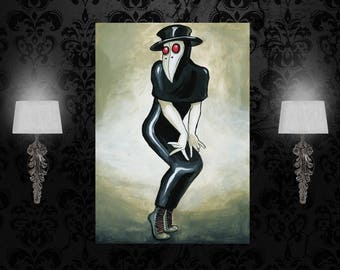 Custom poster, Bettie Page, PinUp print, Plague Doctor poster, surreal art, A3, A2, A1, custom size print, art print