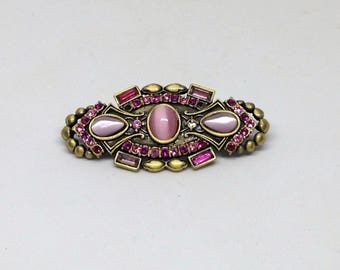 Pink Rhinestone Opalescent Brooch in a Pewter Setting, Pink Brooch,  Glam Brooch, Pink Rhinestone Pin