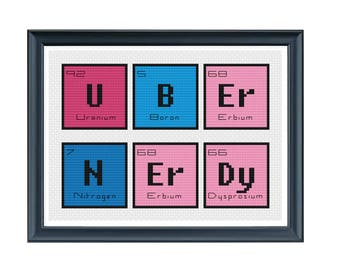 CROSS STITCH PDF - Periodic Table Words Uber Nerdy Cross Stitch - Modern Cross Stitch Pattern - Science Geek Cross Stitch Instant Download