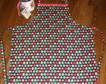 SALE!Womens or Mens Adult Size Christmas Apron, Handmade Apron, Hostess Gift under 20, Custom made Apron, Red and Green, Vintage Retro Apron