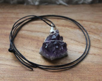 Dark / deep purple triangle of wire wrapped Amethyst necklace