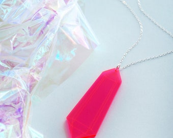 Laser Cut Neon Pink Acrylic Crystal Pendant Necklace / Modern & Minimalist Jewelry / Cyberpunk Jewelry / Futuristic / Low Poly