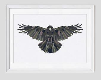 Cross stitch pattern, raven cross stitch pattern, raven counted cross stitch, raven cross stitch