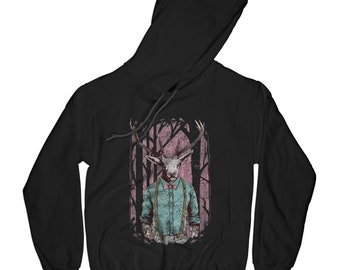 Deer hoodie animal hoodie hipster hoodie vintage hoodie forest hoodie vintage hoodie grunge hoodie     AP64