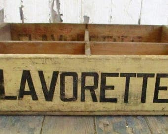 Vintage 1960s Flavorettes Soda Wood Crate Pop Bottle Wooden Crate Delivery Box Stewart Beverage Co Sterling Illinois Advertising