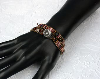 Brown Leather Wrap Bracelet with Mixed Seed and Tila Beads and Button Clasp