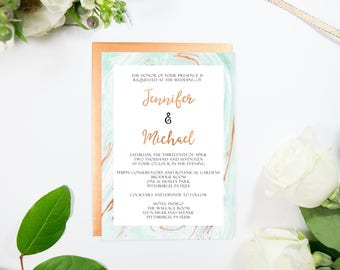 Elegant Copper Foil and Watercolor Marble Wedding Invitation, Modern, Foiled Marble available in Gold, Rose Gold, Silver Foil