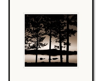 Nightfall on Dowdy Lake, Red Feather Lakes, Colorado photography, black and white, sepia warm tone, framed photo by Adrian Davis