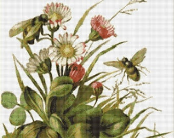 Bees & Flowers Counted Cross Stitch Pattern / Chart, Instant Digital Download (AP054)