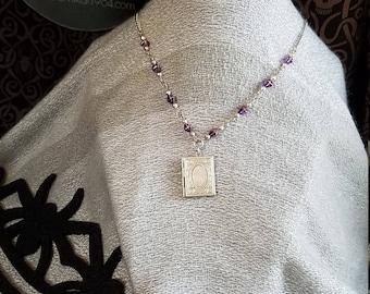 Purple Beaded Locket Necklace