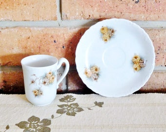 1970s white porcelain handpainted cup saucer duo, unbranded, vintage tea cup and saucer, high tea