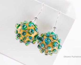 Lampwork Earrings for women, drop earrings, Flower earrings, blue earrings, gift for her, glass earrings, silver
