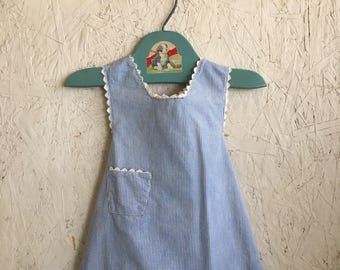 Vintage Baby Clothes Toddler Blue and White Striped Trapeze Dress Tie Back Size 18 Months - 2T