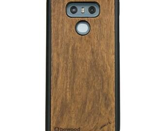 LG G6 - Imbuia -  Wood Case - Real Wooden Case - Black Bumper