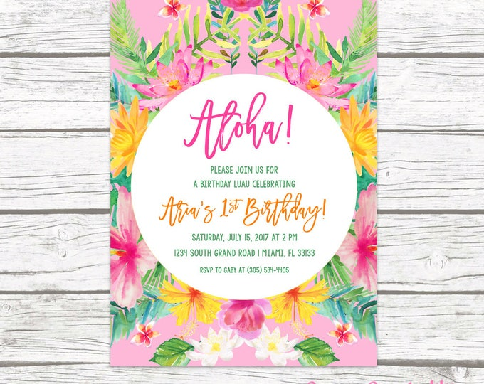 Tropical Birthday Invitation, Luau Birthday Invitation, First 1st Birthday Invitation Girl, Aloha Birthday Invitation, Printable Invite