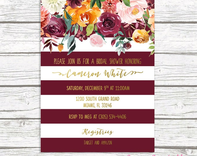 Burgundy Bridal Shower Invitation, Marsala Bridal Shower Invitation, Fall Floral Bridal Shower Invitation, Fall Bridal Shower Invite