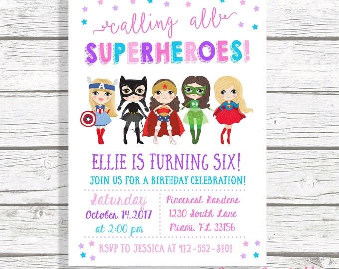 Girl Superhero Invitation, Superhero Birthday Invitation Girl, Superhero Girl Birthday Invitation, Girl Power Invitation, Comic Book Invite