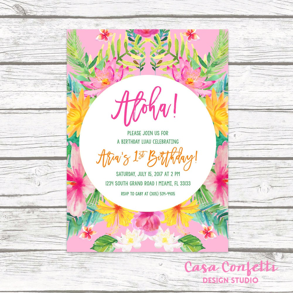 Tropical Birthday Invitation Luau Birthday Invitation First 1st