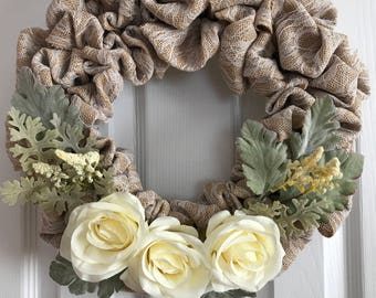 Lace and Roses Burlap Wreath