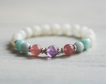 Super Seven and Moonstone Bracelet - Healing Bracelet - Wrist Mala - Gemstone Bracelet - Meditation Bracelet - Mala Bracelet - Boho Jewelry