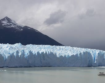 """Patagonia Glacier Nestled in Snow Capped Andes Mountains - """"The Wall"""""""