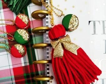Planner Tassel, Yarn Tassel, Planner Decoration, Bag Charm, Planner Charm, Red Tassel, Gold Bow, Plaid Ribbon, Planner Accessory, Xmas Gift