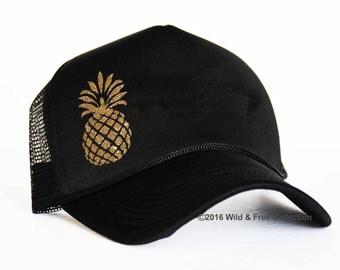 Pineapple trucker hat | Pineapple snap back cap | Pineapple trucker cap | Tropical sun hat | Vacation Hat