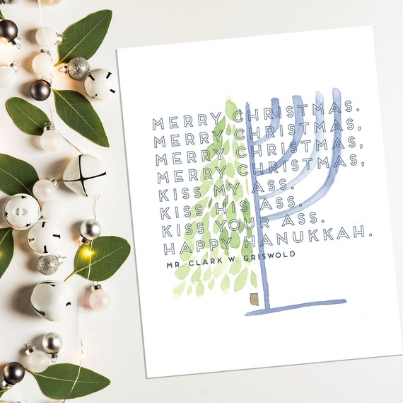 Merry Christmas and Happy Hanukkah Art Print