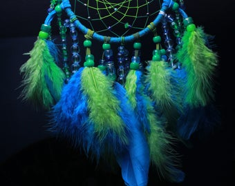 Small/Medium Blue and Green Dreamcatcher, Modern, Bohemian, Boho Chic, Dorm Decor, Authentic, First Nations, Native American, Indigenous