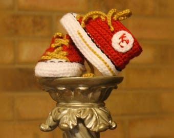 Crochet Baby SHOES, Baby Football shoes, Kansas City CHIEFS inspired converse shoes (Handmade by me and not affiliated with the NFL)
