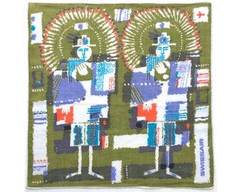 Musicians, Swissair vintage souvenir ladies' handkerchief, advertising hankie, hanky, 1970s, panpipes players
