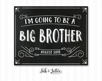Big Brother Chalkboard - I'm Going to be a Big Brother - Big Brother Sign - Pregnancy Announcement - Printable Baby Announcement