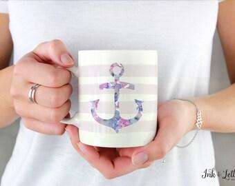 Nautical Mug - Unique Coffee Mug - Anchor Coffee Mug - Birthday Gift for Her - Coffee Cup - Purple Coffee Mug - Purple Mug - Holiday Gift