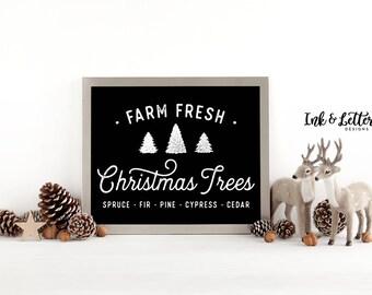 Black and White Christmas Print - Farm Fresh Christmas Trees Sign - Christmas Wall Art - Rustic Christmas Decor - Instant Download - 8x10