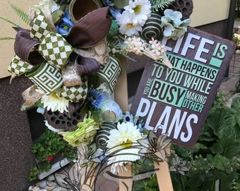 Flower Wreath, All Season Wreath, Front Door Wreath, Mothers Day Wreath, Mothers Day Gift, Wall Decor, Home Decor, Spring, Summer Wreath