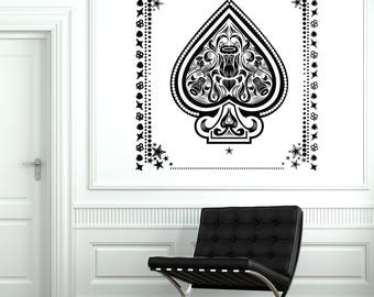 Wall Vinyl Mural Art Aces of Spades with Flowers Pattern Decor for Living Room and Casino (#2688dn)
