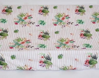 Cactus Sheet or Change Pad Cover, Peach cactus, stripe, floral, shabby chic, dessert
