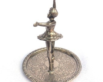 """Ballerina Ring Holder, Silver Plated Ring Dish, Electro Plated Zinc Alloy, Foam Pad, Clean & Shiny, Excellent Condition, Ideal Gift, 4"""" x 3"""""""