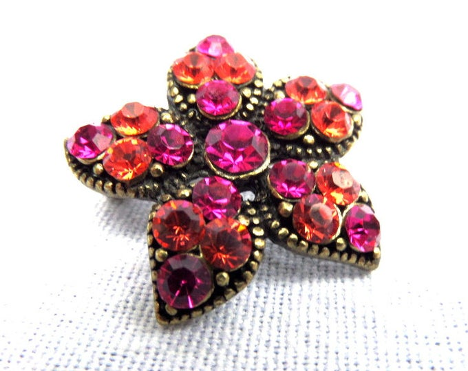 FREE SHIPPING Pink and Coral Peach Rhinestone Brooch, Star Shaped, Pink Pin Brooch, 1970's Costume Jewellery, Immaculate Condition