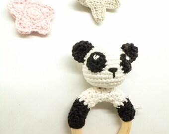 Hochet panda pour bébé / hochet au crochet / hochet fait main / anneau de dentition / jouet bébé / cadeau de naissance / cadeau bébé
